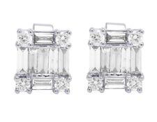 18k White Gold Genuine Diamond Baguette Unisex Stud Earrings 1 1/6 Ct 9mm