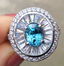 3.1ct Natural EarthMined Blue IF Clarity Unheated Zircon sterling silver ring 6