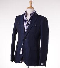 NWT $900 BARNEYS NEW YORK Blue Four Pocket Linen-Cotton Blazer 38 R Slim-Fit