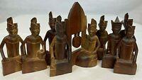 Vintage Bali Wooden Hand Carved Indonesian Gamelan Musician Figures Set of 9