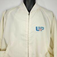 Vintage UP Union Pacific Bomber Jacket L Harrington Off White Made USA