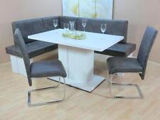 Eckbankgruppe 4-tlg. Esstisch Stühle Bank Essgruppe Farbe: Weiß/Anthrazit