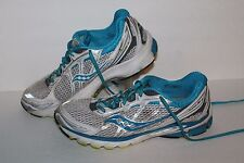Saucony Ride 5 Running Shoes, #10156-2, White/Blue/Silver, Womens US Size 11