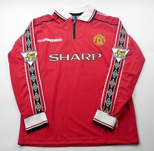 MANCHESTER UNITED 1998-99 HOME RETRO SHIRT LONG SL BECKHAM Size S M L XL 2XL 3XL