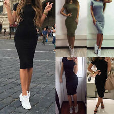 Women Bodycon Slim Short Sleeve Casual Evening Party Cocktail Pencil Midi Dress