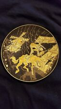 Muli color Gold on Niello metalic Don Quixote footed dish