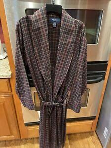 NEW Nautica Men's Robe Shawl Collar Plaid Flannel Cotton Belted Tie L/ XL