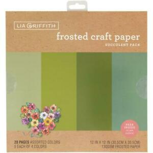 """Lia Griffith 12"""" Frosted Craft Paper Succulents  12""""x12"""", 20pk"""