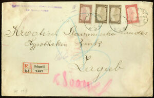 Hungary 1922, Registered High Franking Big Format Cover Budapest to Zagreb