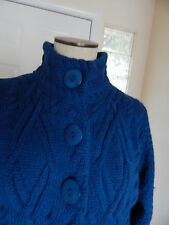 Arancrafts Royal Blue Chunky Cable Knit Wool 3 Button Sweater