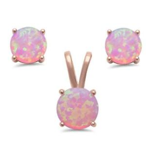 Round Rose Gold Plated Pink Opal .925 Sterling Silver Pendant & Earring Set