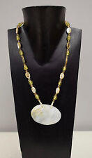 Necklace Mother of Pearl Shell Abalone Shell Crystal Beaded Vintage Necklace