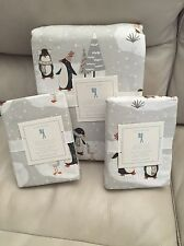 Pottery Barn Kids Winter Penguin Flannel Duvet Cover Shams Full Queen Christmas