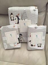 Pottery Barn Kids Winter Penguin Flannel Duvet Cover Shams Full Queen Christmas