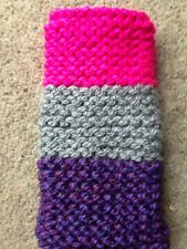Hand knitted Mobile phone sock/case/cover  multi purle/grey/pink
