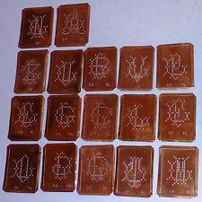 17 alte Kupferschablonen Stickschablone Monogramme Stickvorlagen Wäscheschablone