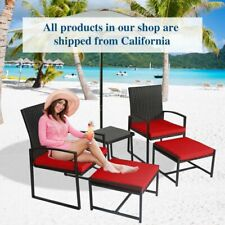 5 Pc Patio Rattan Sectional Furniture Set Table Chair Ottoman Cushioned