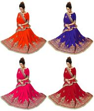 Bollywood Indian Latest Women's Wedding Designer Embroidery Paper Silk Saree