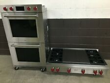 """(2 pc set) Wolf Range Top 48"""" Srt484Dg and Wolf 30"""" Double Wall Oven Do30Pm/S/Ph"""