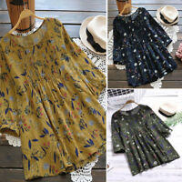 Fashion Women Loose Pleated 3/4 Sleeve Tops Blouse Tunic Casual Floral Shirt Top