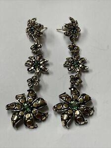 "John Hardy Sterling 925 18k Gold Dot Ayu Jasmine Flower Earrings 3"""