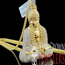 Mens Real Genuine Diamond Meditation Gautam Buddha Pendant 10K Gold Finish Charm