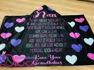 Nanny Hugged Hooded Blanket - Personalised - Mum, Grandma, Oma