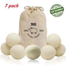 7Pack Natural Fabric Softener Wool Dryer Balls 100% Organic Reusable Dryer Balls