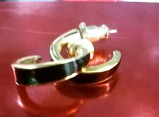 MONET BLACK AND GOLD-TONED HOOP EARRINGS (L4)