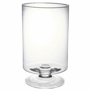 Large Clear Glass Vase Footed Centrepiece Decorative Tall Flower Display Table