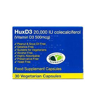 HuxD3 Colecalciferol 20000iu, Vitamin D3 30 Capsules Vegetarian Kosher Halal