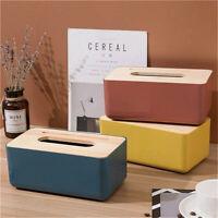 Wooden Tissue Box Cover Paper Napkin Holder Case Home Room Hotel Car Decor UK