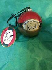 MERRY CHRISTMAS to ANGEL Paper Mache Ball Ornament STOCKING STUFFER Teacher