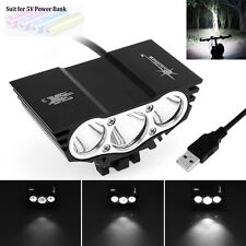 SolarStorm 3 x CREE XM-L T6 LED 3000LM 4-Mode Bicycle USB Headlamp Bike Light