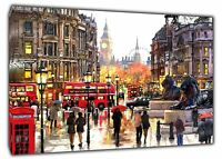 LONDON TRAFALGAR SQUARE PICTURE PRINT ON WOOD FRAMED CANVAS WALL ART DECORATION