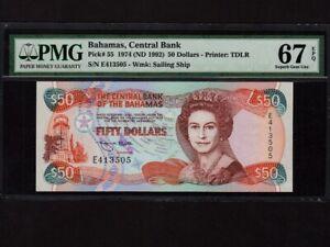 Bahamas:P-55,50 Dollars,1974(1992) * Queen Elizabeth II * PMG S.Gem UNC 67 EPQ *