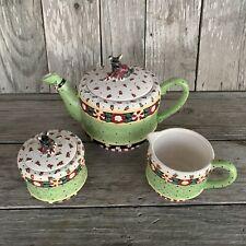"Mary Engelbreit ""Christmas Wish� Scottie Dog Tea Pot/Sugar Bowl & Creamer Euc"