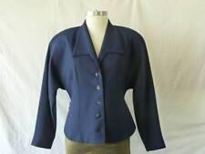 Vtg 80s Designer Simon Chang Navy Wool Mod Avant Garde Dolman Blazer Jacket~S/M