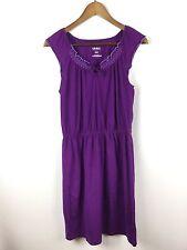 Old Navy Stretch Jersey Knit Sleeveless Peasant Boho Sun Dress Purple Medium