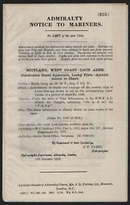 ADMIRALTY NOTICE TO MARINERS SCOTLAND WEST COAST LOCH ABER 1916 WITH MAP