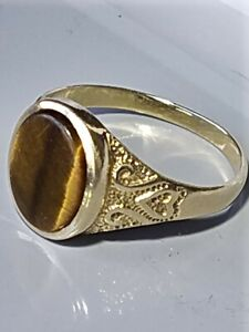 Vintage Hallmarked 1989 9ct Gold Tigers Eye Agate Signet Ring Size T.5