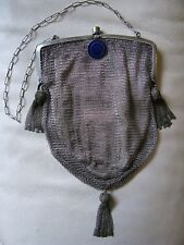 Antique Victorian Art Deco Silver Cobalt Blue Guilloche Fancy Tassel Mesh Purse