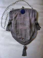 Antique Victorian Art Deco Silver Cobalt Blue Guilloche Fancy Tassel Mesh Purse