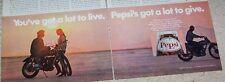 1970 print ad - Pepsi Cola soda Girl Guy motorcycle VINTAGE advertising ADVERT