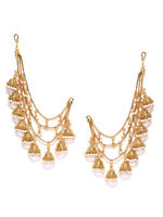 Gold Tone Jewelry Sahara Kaan Chain Pair Pearl Jhumki Women Hair Accessories