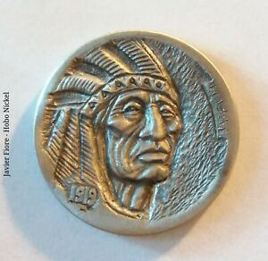 Hobo Nickel -   Crow Chief - Hand carved -  five cents 1919