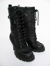 NEW $425 TORY BURCH BLACK LEATHER 'TRIGG' LACED SPIKE HEEL FRINGED BOOTS SHOE~5