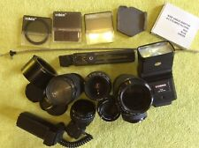 Camera Lens Lenses + Accessories Job Lot With Case Minolta Makinon Vivitar Cobra
