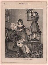 Decorating for Christmas, antique engraving, print, original 1880