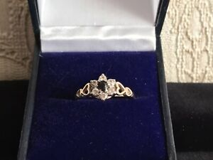 VINTAGE ENGAGEMENT 9ct YELLOW GOLD CLUSTER RING SIZE P FLOWER HEART DESIGN